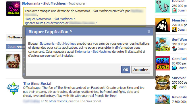 facebook bloquer application
