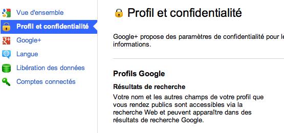 google+ profil et confidentialité