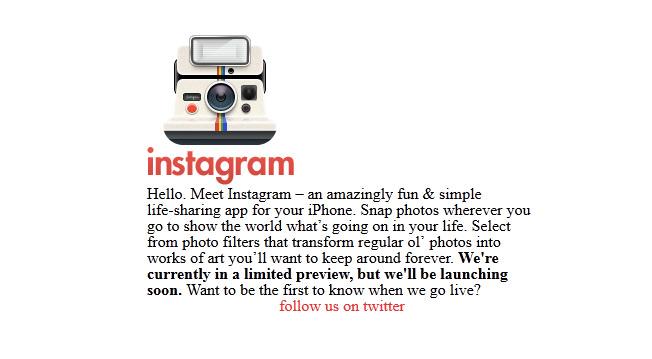 page d'accueil originale d'instagram