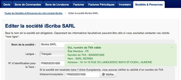 Vérifier un numéro de TVA avec iScriba