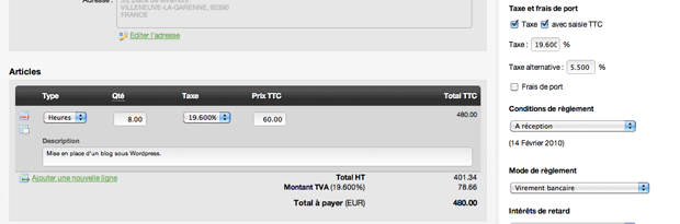 Saisie des prix d'une facture en TTC
